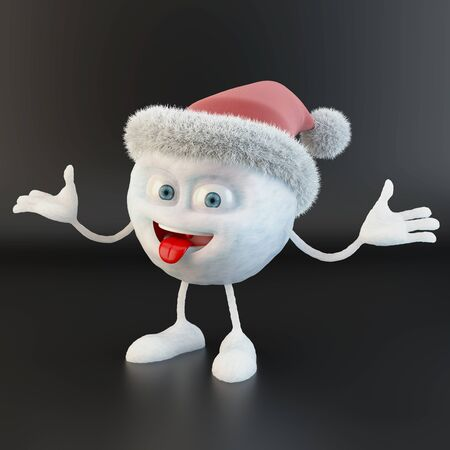 snowball character with santa hat over black background Stock fotó