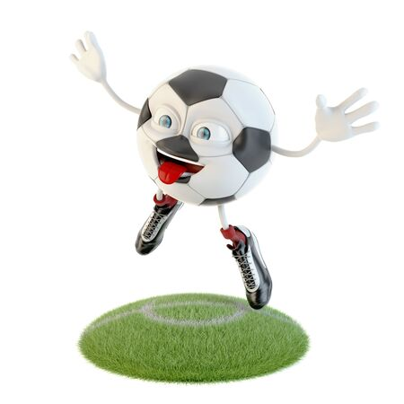 Jumping soccer ball character over white Stock fotó