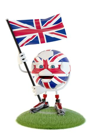 Soccer ball character holding flag of great britain over white Stock fotó - 138143540
