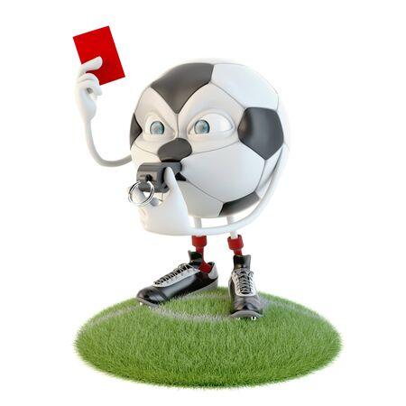 Soccer ball character with red card over white