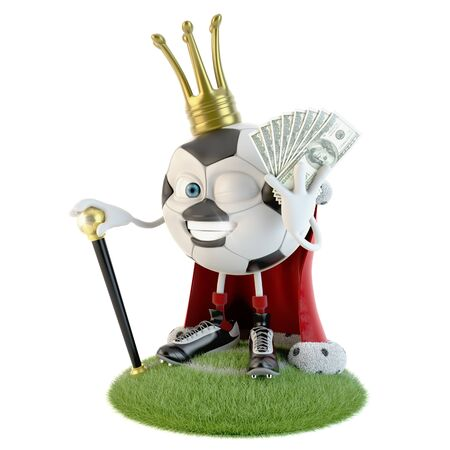 Soccer ball character dressed as a king with lot of money over white Stock fotó