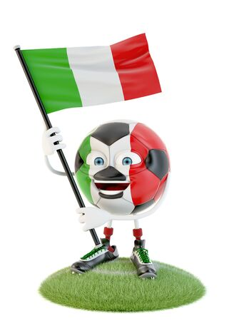 Soccer ball character holding flag of italy over white
