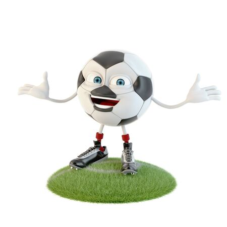 Soccer ball character over white