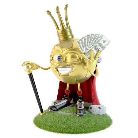 Golden soccer ball character dressed as a king with lot of money over white Stock fotó