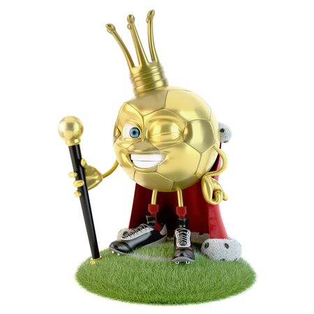Golden soccer ball character dressed as a king over white Stock fotó - 138143546