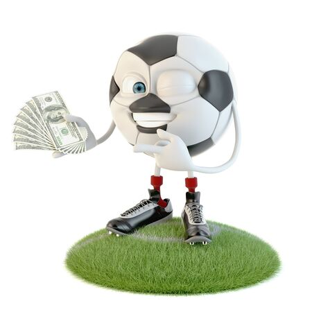 Happy soccer ball character with lot of money over white Stock fotó - 138143548