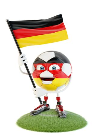 Soccer ball character holding flag of deutschland over white Stock fotó