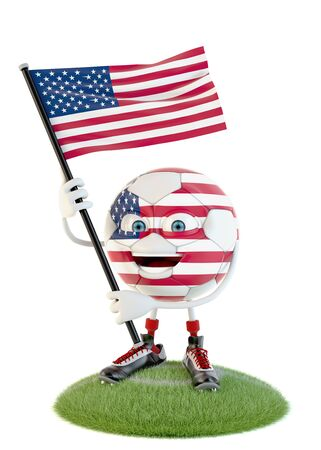 Soccer ball character holding flag of united states of america over white Stock fotó - 138143547