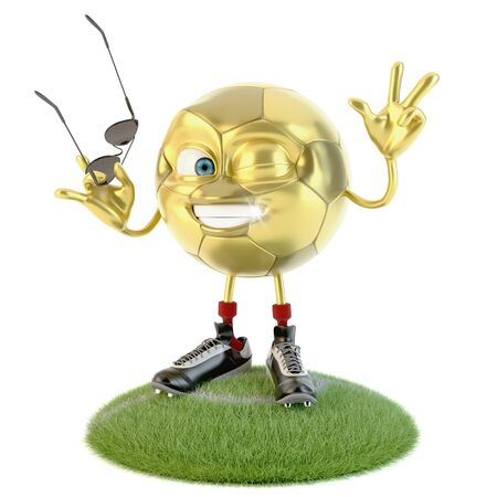 Golden soccer ball with sunglasses making victory sign over white