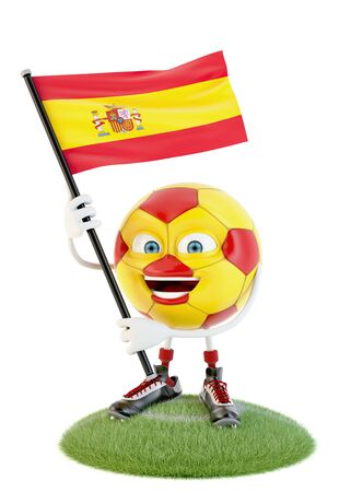 Soccer ball character holding flag of spain over white