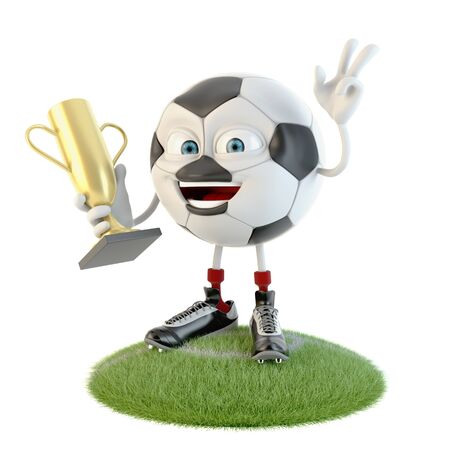 Soccer ball character with trophy over white Stock fotó