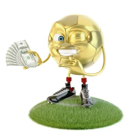 Happy golden soccer ball character with lot of money over white