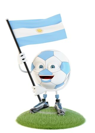 Soccer ball character holding flag of argentina over white