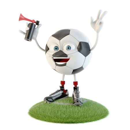 Happy soccer ball character with supporter horn over white