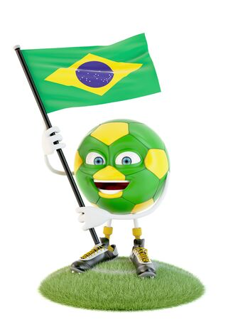 Soccer ball character holding flag of brazil over white Stock fotó