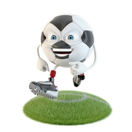 Running soccer ball character over white