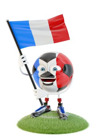 Soccer ball character holding flag of france over white