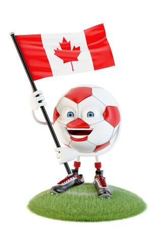 Soccer ball character holding flag of canada over white