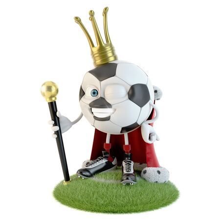 Soccer ball character dressed as a king over white Stock fotó