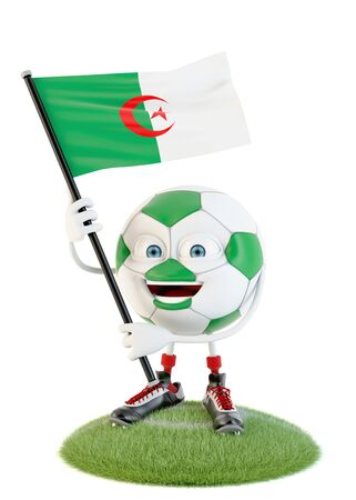 Soccer ball character holding flag of algeria over white