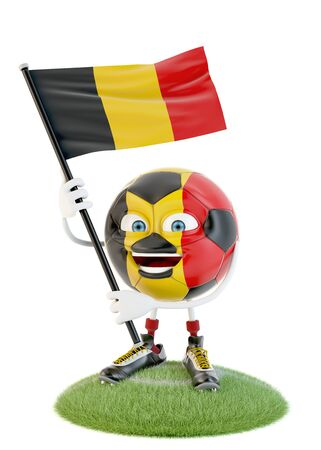 Soccer ball character holding flag of belgium over white