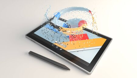 tablet with a vortex of paint on the screen over white surface