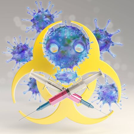 Viruses in shape of a skull and crossed syringes in front of big biohazard sign, looking like a pirate flag