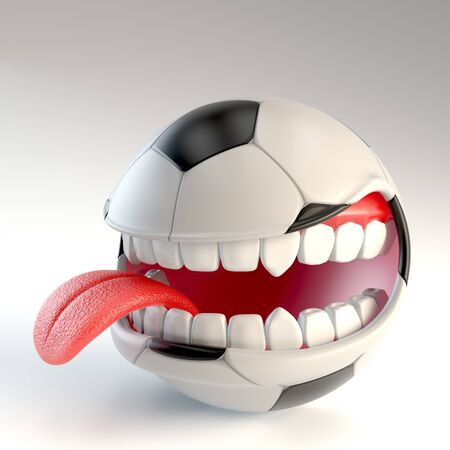 soccer ball with mouth over white background