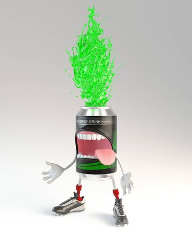 energy drink can character during energy explosion