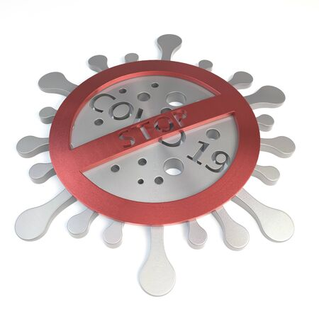 3D stop covid-19 brushed metal icon on white surface