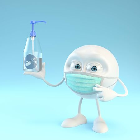 3d character with surgical mask holding a bottle of hydroalcoholic gel over blue background