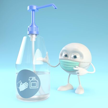 3d character with surgical mask showing a giant bottle of hydroalcoholic gel over blue background