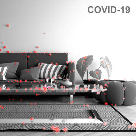 covid 19 spread over a living room with big viruses all over the room, black and white picture with red viruses