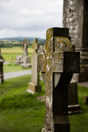 Tombstone on an old churchyard in Ireland