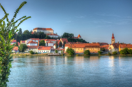 View of Ptuj, Slovenia as seen from the other side of the river Drau (Drava) Stock Photo