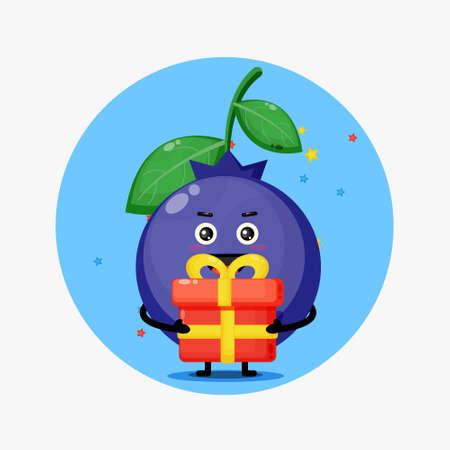 Cute blueberry mascot brings a gift box 矢量图像