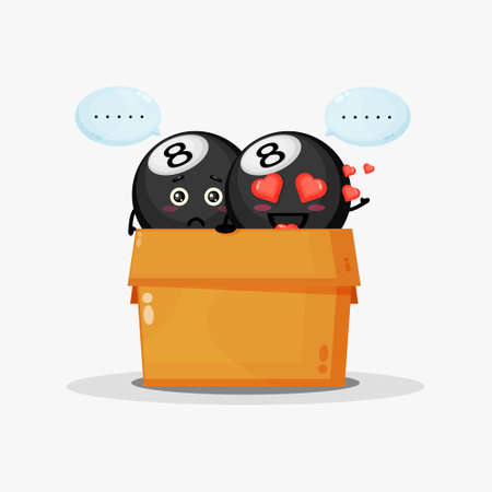 Cute billiard ball mascot in the box 向量圖像