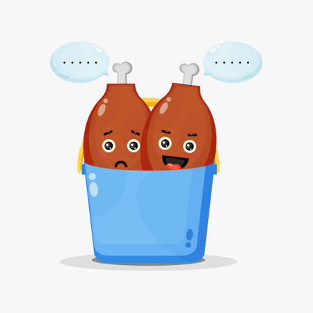 Cute chicken thighs mascot in bucket