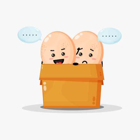 Cute chicken eggs mascot in the box