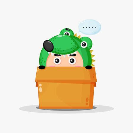 Cute crocodile mascot in the box Ilustração