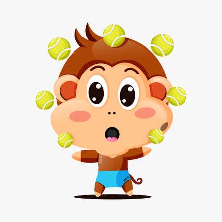Cute monkey playing tennis ball
