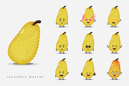 Cute jackfruit mascot set