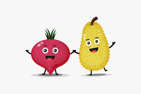 Cute happy beetroot and jackfruit character