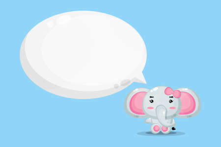 Cute mascot elephant with bubble speech