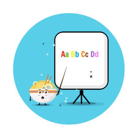 Cute ramen mascot explains the alphabet