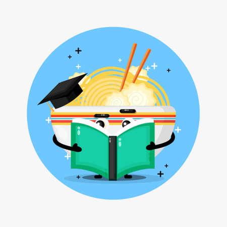 Cute ramen mascot reading a book