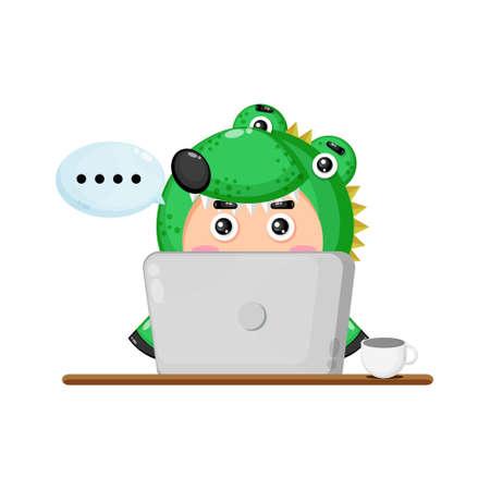 Illustration of cute crocodile mascot in front of a laptop Ilustração