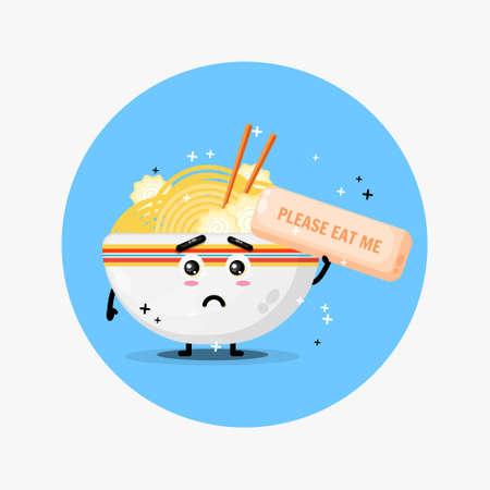 Cute ramen mascot asks to be eaten