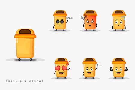 Cute trash bin mascot set