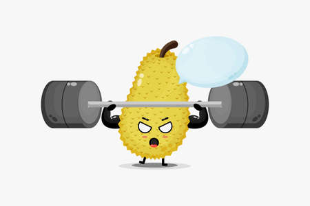 Cute jackfruit mascot raises a barbell